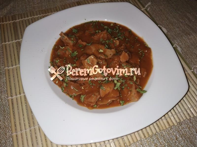 Куриные желудки в томатно-соевом соусе