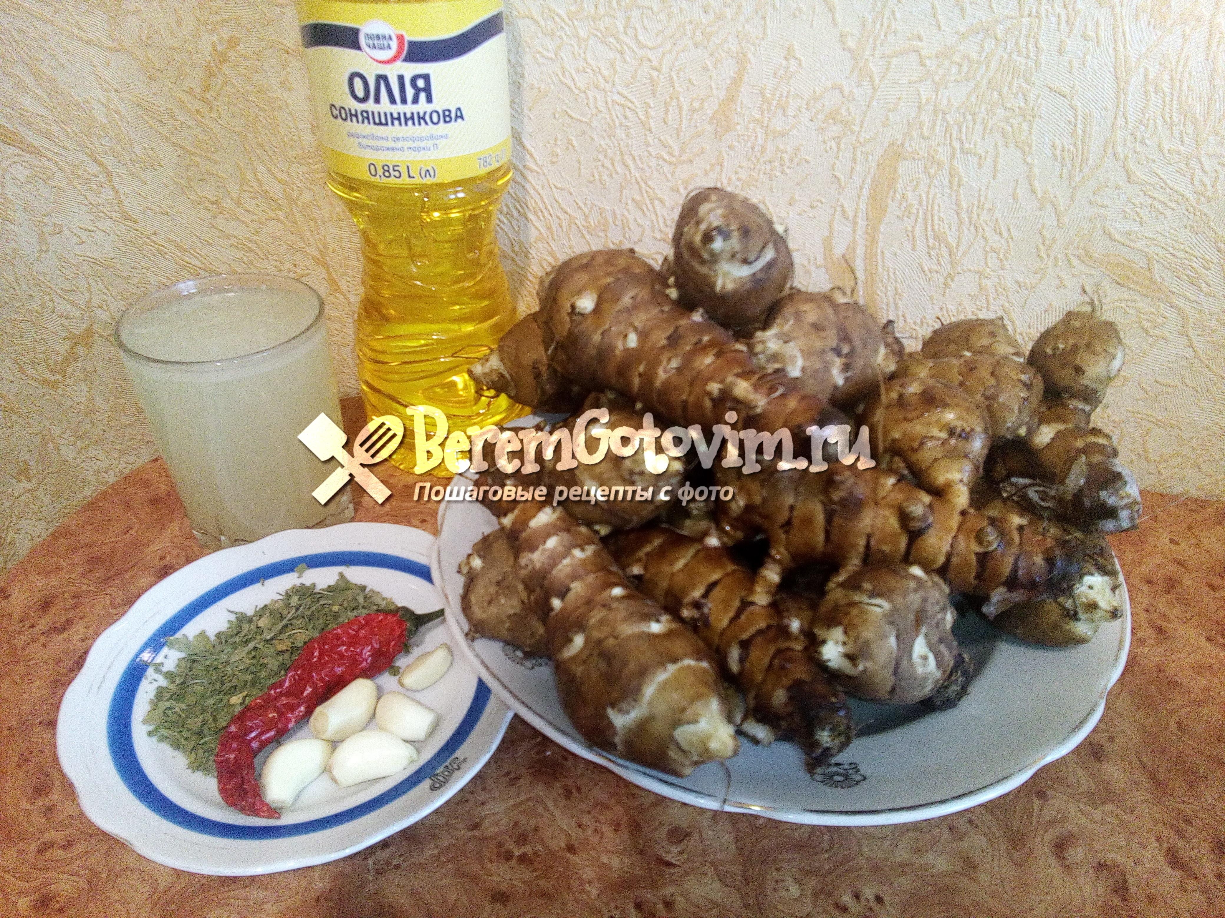 Ингредиенты для гарнира из топинамбура