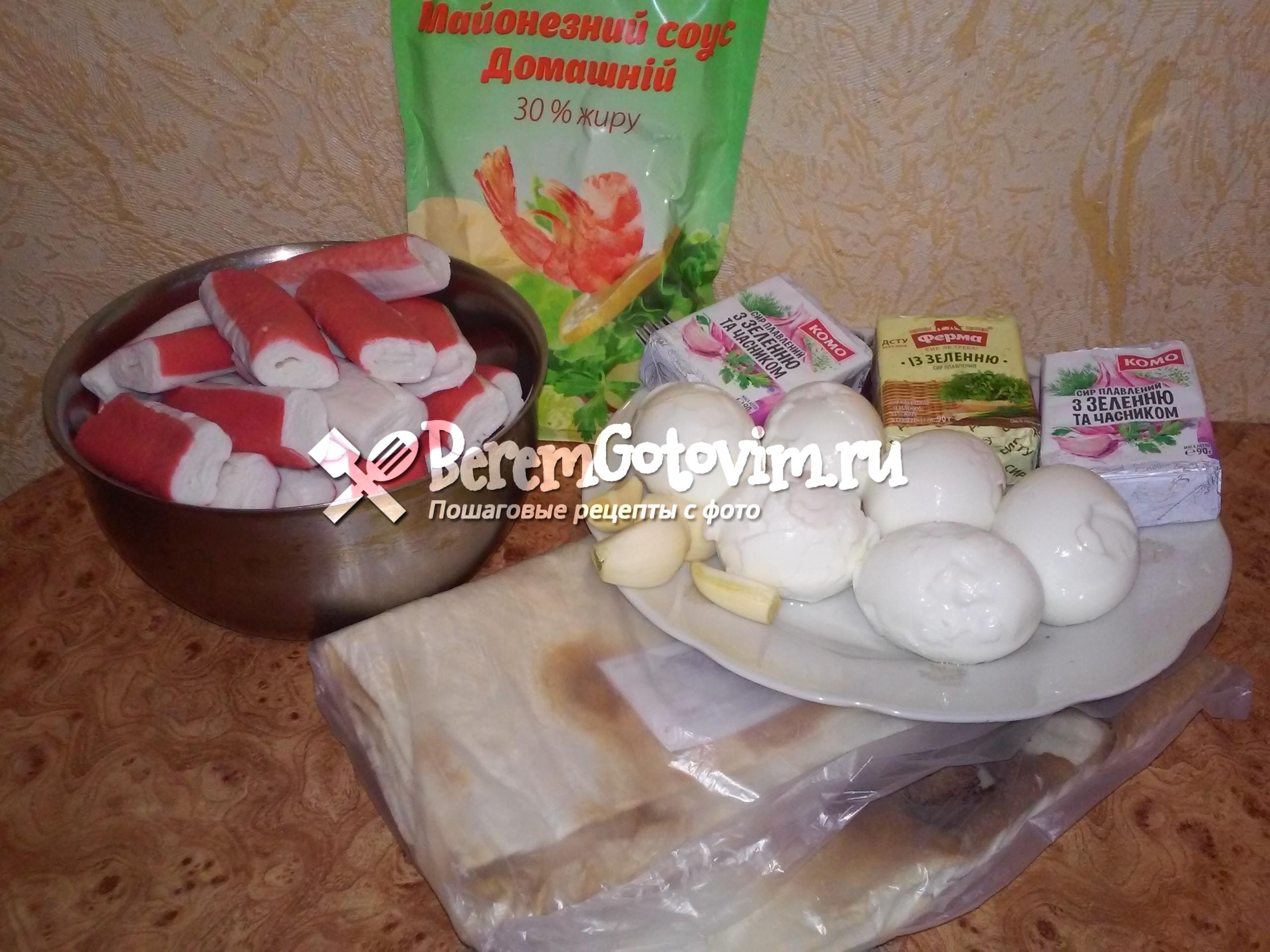 ингредиенты-для-рулета-из-лаваша-с-крабовыми-палочками