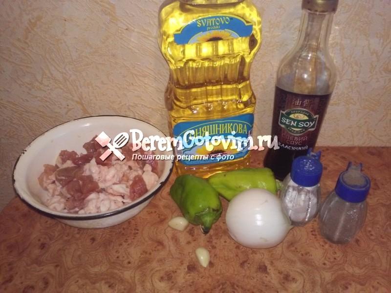 ингредиенты-для-свинины-в-соевом-соусе-на-сковороде