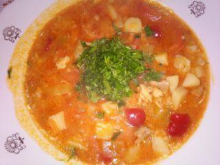 Суп из лечо с курицей