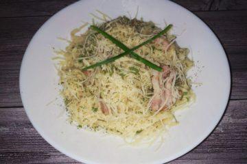 Спагетти карбонара с грудинкой