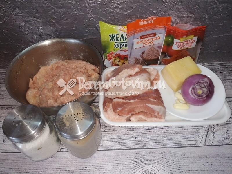 ингредиенты-для-куриной-колбасы-со-свининой-и-сыром